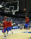 Kansas warms up prior to the start of the national championship game against Memphis Monday, April 7, 2008 at the Alamodome in San Antonio.