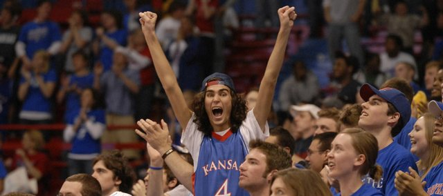 Pumped up during the game, Peter Ruane, a Kansas University student from Wichita, was one of more than 10,000 fans in Allen Fieldhouse.