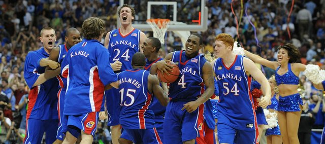 The Kansas Jayhawks go wild with jubilation following the Jayhawks National Championship win over Memphis Monday, April 7, 2008 at the Alamodome in San Antonio.