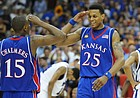 Kansas guard Mario Chalmers and Brandon Rush salute each other in overtime Monday, April 7, 2008 at the Alamodome in San Antonio.