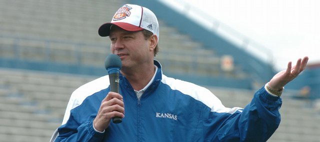 Kansas basketball head coach Bill Self told the 25,000 fans how much he and the team loved their support.