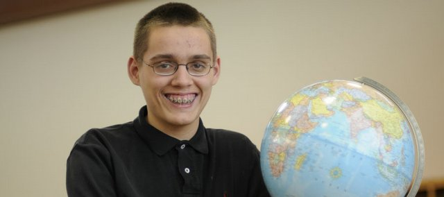 Conlan Murphy, a sixth-grader at Langston Hughes School, tied for fourth place on April 4 in the Kansas Geographic Bee. Murphy is pictured on Friday at his school.