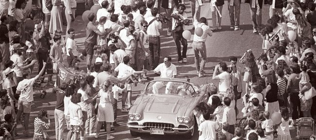 Some 60,000 people pack Massachusetts Street in downtown Lawrence to celebrate Kansas University's 1988 Men's NCAA Basketball Championship.