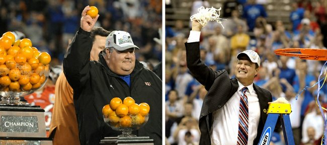 Kansas University head football coach Mark Mangino, left photo, basks in his team's 2008 Orange Bowl victory, and KU basketball coach Bill Self, right photo, revels in his team's 2008 National Championship.