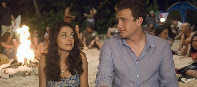 "Mila Kunis, left, and Jason Segel star in Judd Apatow's quirky breakup comedy, ""Forgetting Sarah Marshall."""