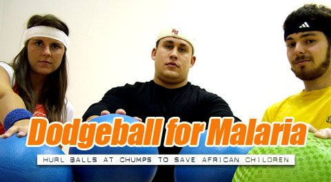 Classmates (left to right) Christy Tuohy, Tom Graves, and Pat Young helped organize a dodgeball tournament for Malaria.