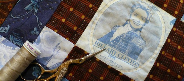 Barbara Brackman, a member of the Kaw Valley Quilter's Guild, created two fabrics - one with the image of Barack Obama, the other with Hillary Clinton - that will be auctioned off as part of the guild's show that runs this weekend.