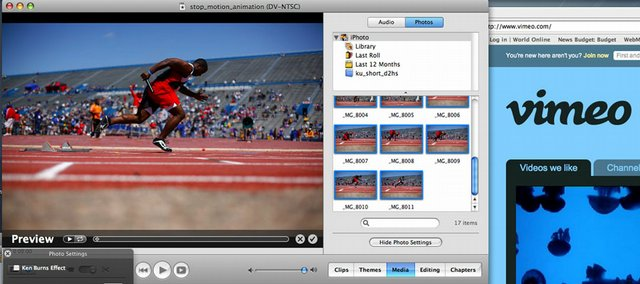 This screenshot demonstrates iMovie, a simple application to create stop-motion animation. Some PC programs include Monkey Jam and Stop Motion Station.