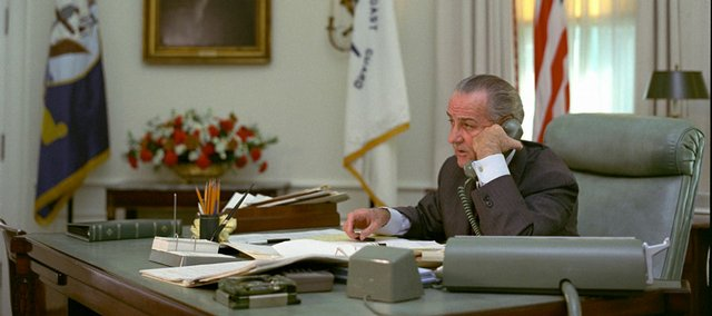 President Lyndon B. Johnson talks on the telephone at the White House at an unknown date in this photo released by the LBJ Library in Austin, Texas. On Thursday, the library released audio recordings of Johnson's conversations from January through April 1968.