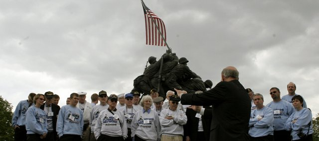 U.S. Sen. Pat Roberts of Kansas talks with Kansas veterans at the Iwo Jima Memorial in Washington, D.C., during an April 30 Honor Flight.