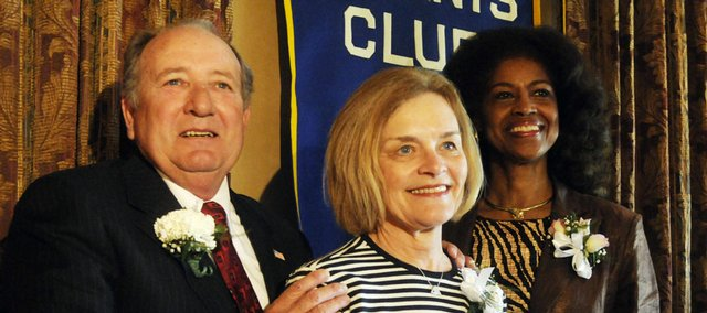 The Lawrence Kiwanis Club honored Tom and Vicki Wilkerson, from left, and state Rep. Barbara Ballard with the Substantial Citizen Award Thursday at the Lawrence Country Club.