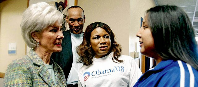 "From left, Gov. Kathleen Sebelius, Bud Stallworth, Teresa Sims and Haskell student Krystal Jumping Elk, all Obama supporters, talk Saturday about the 2008 Democratic Convention. They attended the ""Vote For Change"" rally at Kansas University's Burge Union."