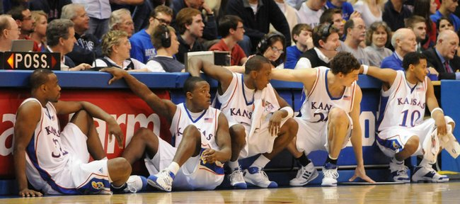 Kansas University men's basketball seniors, from left, Darnell Jackson, Rodrick Stewart, Russell Robinson, Sasha Kaun and Jeremy Case, wait to check in on Senior Night in March. Stewart, recovering from knee surgery, will coach his teammates in a barnstorming game tonight at Lawrence High.