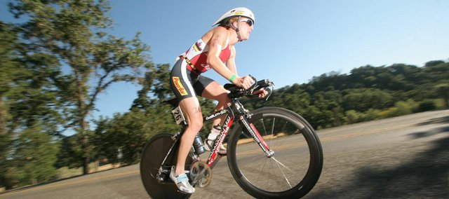 Samantha McGlone competes during the Vineman Ironman 70.3, an event she won, in July 2007 in Sonoma County in California. McGlone, a 2004 Olympian, will highlight the women's professional field at the Ironman 70.3 Kansas on June 15 in Douglas County.