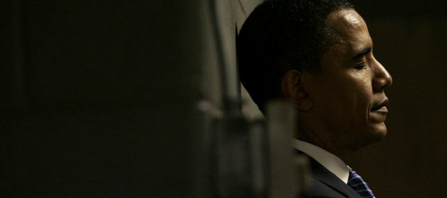 Democratic presidential hopeful Sen. Barack Obama, D-Ill., waits backstage before a rally Friday in Sioux Falls, S.D.