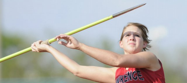 Lawrence High's Bridget Wenger competes in the girls javelin. Wenger placed third at a Class 6A regional Friday in Olathe.