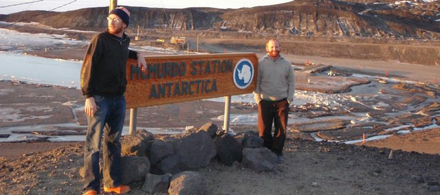 Nathan Williams, left, and his brother, Kevin Williams, work at McMurdo Station, a permanent research station in Antarctica.