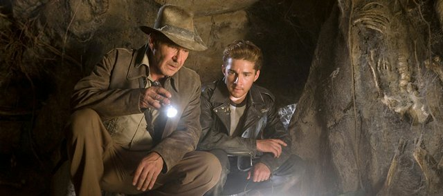 "Harrison Ford, left, and Shia LaBeouf star as adventures in the long-awaited sequel ""Indiana Jones and the Kingdom of the Crystal Skull."""