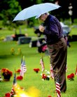 Kenneth Callicott, Lawrence, searches for the gravestone of his friend Ernest Clifton on Monday near the eternal flame in the Veterans Plot at Oak Hill Cemetery. Callicott attended memorial services at the cemetery organized by the American Legion Dorsey-Liberty Post 14 of Lawrence.