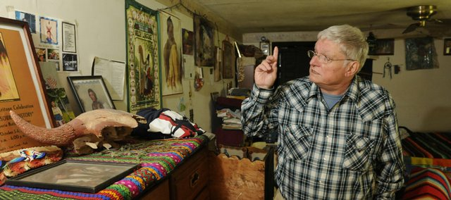 "Jimm Goodtracks is a fluent speaker of Ioway, a nearly lost American Indian language. Goodtracks, pictured on Wednesday in his North Lawrence home, assisted filmmakers in the making of ""Lost Nation,"" a film that will be screened this weekend in Topeka."