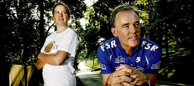 Elizabeth Weeks and Mike Vickers, both of Lawrence, are relay teammates in the upcoming Ironman 70.3 Kansas. Weeks will compete in the running portion, a half-marathon, while Vickers will compete in the cycling portion, a 56-mile bike ride through rural Douglas County. The Lawrence event, slated for June 15, is one of few in the Ironman program that permit relays.