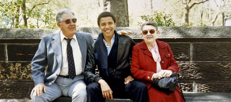 "Obama and his grandmother, the ""a woman who once confessed her fear of black men who passed by her on the street."""