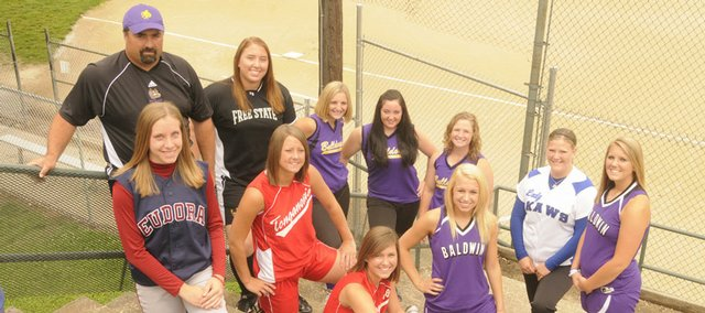 The 2008 all-area softball team is made up of (from left to right): front row - Evan Folks, Eudora High; Lindsey Himpel and Lauren Himpel, Tonganoxie High; Haley Finucane and Alex Zordel, Baldwin High; back row - coach Ballard Patterson, McLouth High; Catherine Smith, Free State High; Kendall Patterson, Lezley Lawson and Samantha Farris, McLouth High; and Courtney Kasson, Perry-Lecompton High.