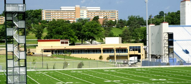 The new Anderson Family Football Complex at Kivisto Field is shown between two new football practice fields and Memorial Stadium.