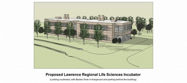 An artist's rendering of the proposed Lawrence Regional Life Sciences Incubator