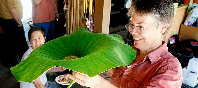 Marylee Ramsay, Wichita, draws a drink of lemonade from the stem of a lotus leaf held by Water's Edge co-owner Deb Spencer during the Tour Des Fleurs Saturday at Water's Edge, 847 Ind. Tourists were entertained and educated by plant experts at several Lawrence locations participating in the tour, which continues today.