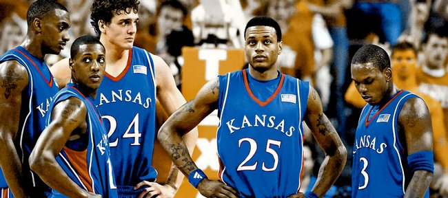 A group of Jayhawks, from left, Darrell Arthur, Mario Chalmers, Sasha Kaun, Brandon Rush and Russell Robinson, stand together in this file photo from Austin, Texas. The five, plus Darnell Jackson, will learn their fate in the NBA Draft tonight in New York.