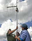 Fred Gantz, left, Lecompton, and Ken Baker, Baldwin City, set up an antenna Saturday at the Douglas County 4-H Fairgrounds, as part of the Amateur Radio Club Field Day.