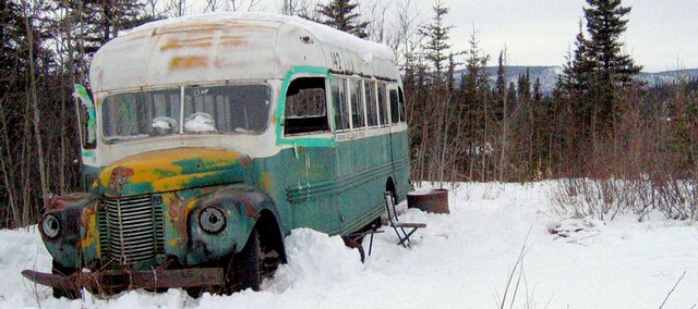 "The abandoned bus where Christopher McCandless starved to death in 1992 stands on the Stampede Road near Healy, Alaska, in this March 21, 2006, file photo. McCandless, who hiked into the Alaska wilderness in April 1992 and died there in late August 1992, was apparently poisoned by wild seeds that left him unable to fully metabolize what little food he had. Jon Krakauer's book ""Into the Wild"" and Sean Penn's movie of the same name are causing people from all over the world to retrace McCandless' steps to the 1940s-era International Harvester bus."