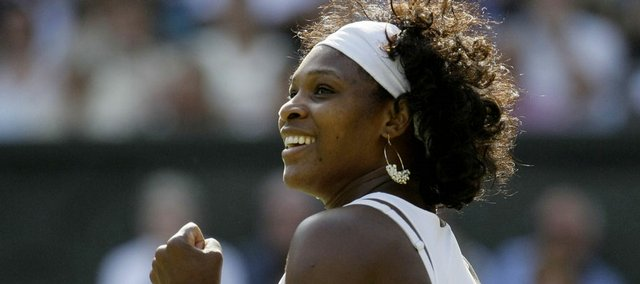 Serena Williams reacts after winning her quarterfinal match against Agnieszka Radwanska.