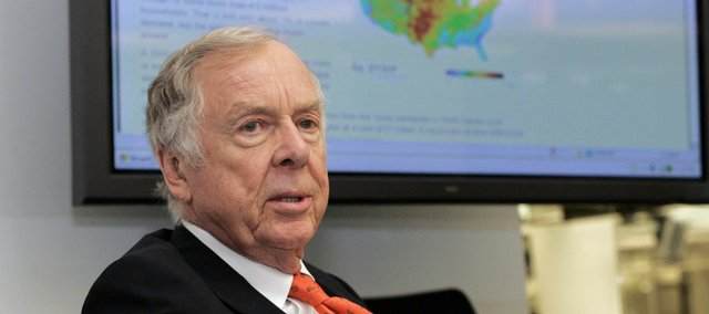 Legendary oilman T. Boone Pickens responds to questions during an interview last week with The Associated Press. Pickens says he'll fund a multimedia advertising campaign to focus the nation's attention on what he calls the single biggest crisis facing the country today: its dependence on foreign oil.