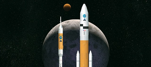 This artist's rendering shows NASA's next generation of moon rockets being developed at the Marshall Space Flight Center in Huntsville, Ala. Ares I, at left, is the crew-launch vehicle that will carry astronauts to space. Ares V is the cargo launch vehicle that will deliver the lunar lander and other large hardware to space.
