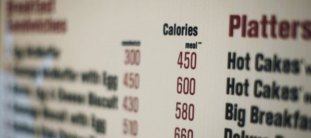 Calories of each food item appear Friday on a McDonald's drive-through menu in New York. Several fast-food chains say they have finally begun obeying a new city rule requiring some restaurants to post calorie counts right on the menu.