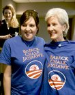 Gov. Kathleen Sebelius pays a visit to Kansas University on Monday to bolster support for Barack Obama before today's Democratic caucuses. She showed off a T-shirt with Hilary Tilkens at the Kansas Union.