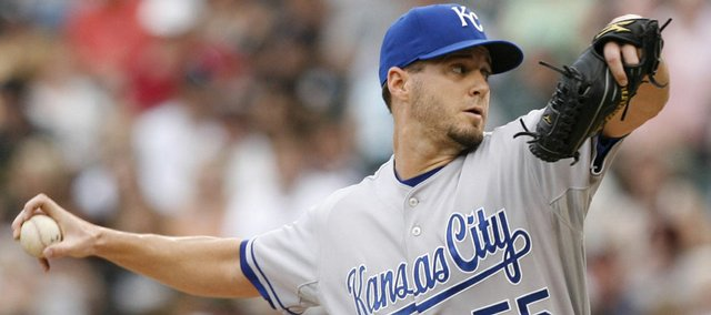 Kansas City starting pitcher Gil Meche throws against the White Sox in the first inning. The Royals used 61â3 solid innings and six strikeouts from Meche and defeated the White Sox, 9-1, on Saturday in Chicago.