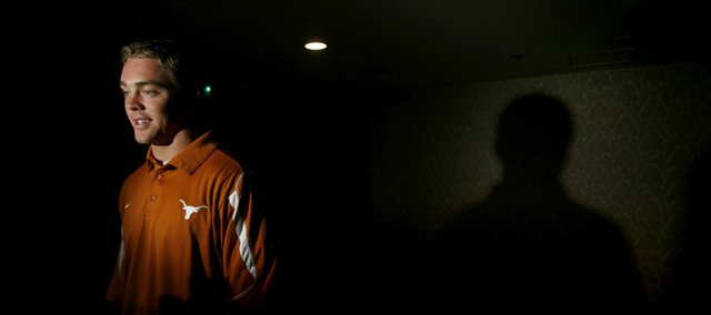 Texas quarterback Colt McCoy speaks to reporters during the Big 12 Football Media Days. McCoy and the Longhorns were part of the third and final day of the media event Wednesday in Kansas City, Mo.