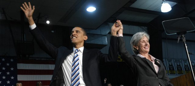 Barack Obama and Kathleen Sebelius