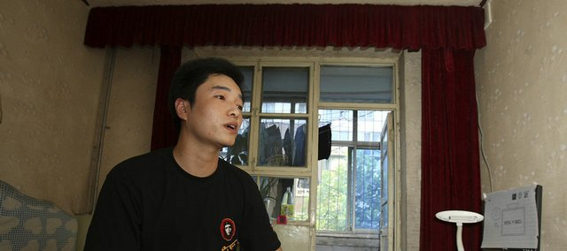 Chinese blogger Zhang Heng is interviewed at his home last month in Shijiazhuang, in central China's Hebei province.