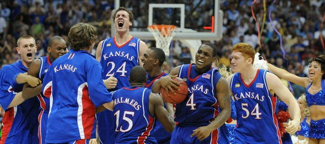 The Kansas Jayhawks go wild after their 2008 NCAA National Championship win over Memphis at the Alamodome in San Antonio.
