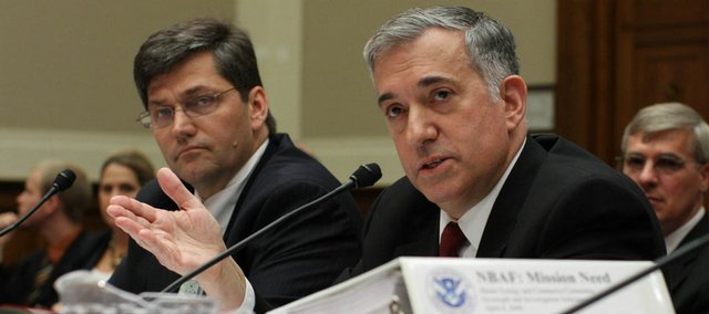 Homeland Security Undersecretary Jay Cohen, right, testifies on Capitol Hill in Washington in this May 22, 2008, file photo. Cohen swept aside evaluations of government experts to include a Mississippi site among five finalists for a new $451 million national laboratory that will study biological threats.