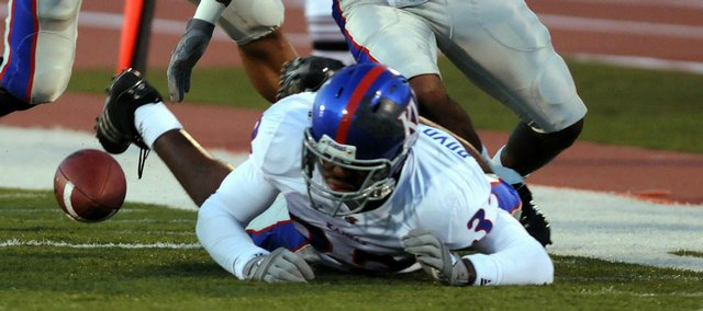 Kansas running back Carmon Boyd-Anderson scrambles after his fumble in the 2008 spring game. Boyd-Anderson notified Jayhawks coach Mark Mangino of his plans to leave KU and is now waiting to hear from the university whether he'll be released from his scholarship.