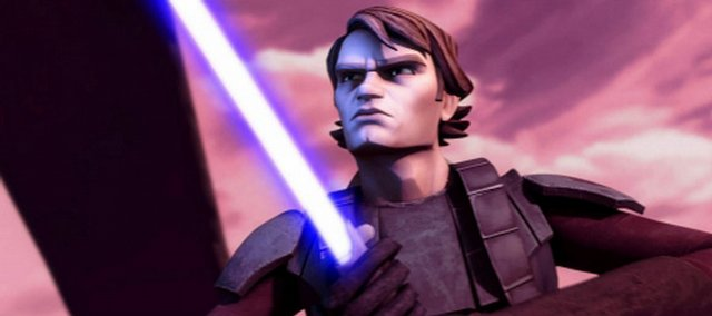 "Anakin Skywalker (voiced by Matt Lanter) prepares for battle in the animated ""Star Wars: The Clone Wars."""