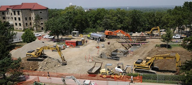 Thad Allender/Journal-World Photo.Construction on the Kansas University campus along Jayhawk Boulevard on Tuesday, July 22, 2008.