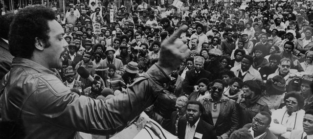 This photo of Jesse Jackson addressing a crowd in Anderson, Ind., in 1982 at a People United to Serve Humanity (PUSH) rally was one of the photographs in Journal-World photographer Mike Yoder's portfolio that helped get him a job at The World Company. A portfolio should include work appropriate to the intended audience or potential employer.