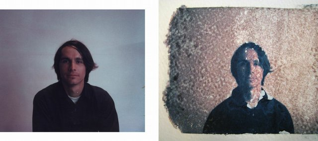Polaroid transfers create surreal, textured images with a noticeably pastel color palette. The image on the left is the original Polaroid print. The image on the right is the resulting Polaroid transfer printed on watercolor paper.
