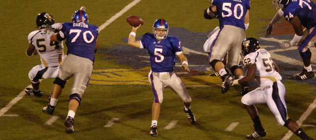 KU's Todd Reesing unloads the football Saturday, Aug. 30, 2008 during the Jayhawks' 40-10 home victory against Florida International.